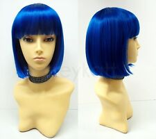 Blue Short Bob Wig Straight Bangs Synthetic Cosplay Page Boy 9""