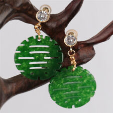 Double Happiness Green jadeite Earring 18KGP Dangle Holiday gifts