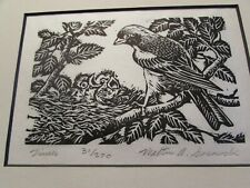 Finch Bird Relief Print Linocut Signed by Artist 31/270 - 8 x 10 Matted Size