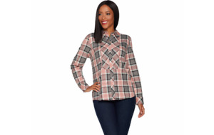 Denim & Co. Stretch Weave Plaid Button Front Long Sleeve Shirt Grey XS A299207 J