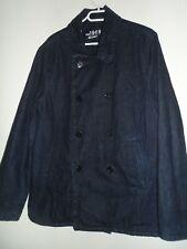 Gap 1969 men`s blue denim coat jacket with warm fleece lining size Large