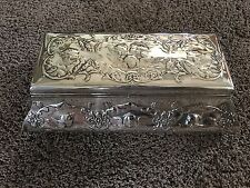 """William Comyns Sterling Silver Repousse Cherub Angel Large Jewelry Box 10.5"""""""