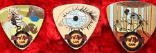 3 Hard Rock Cafe Pins Brussels Guitar Pick Artist Series skeleton eye dragon lot