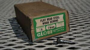 "Box of Wood Screws Flat Head Slotted  Steel #14 X 1"" GLOBE 1 Gross"