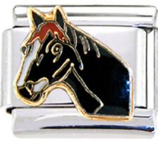 HORSE HEAD BLACK Enamel Italian 9mm Charm HO006 Fits Nomination Classic