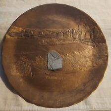 VTG Wendell August Forge Pittsburgh PA Skyline-Pewter Train Car on Bronze Plate