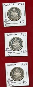 CANADA 1963 GEM FROSTED PROOF-LIKE SILVER 50 CENTS QUEEN ELIZABETH II