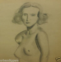 9283/ Vintage Original Pencil Drawing NUDE LADY ~ ART DECO ~ Signed & Dated 1937
