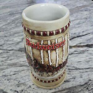1981 BUDWEISER Holiday Stein SNOWY BIRCH WOODLANDS CLYDESDALES Ceramarte