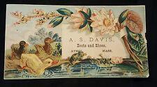 Vintage Antique Victorian Trade Card A.S. Davis Boots Shoes Athol, MA