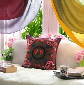 Indian Lotus Cushion Cover Handmade Throw Pillow Cover Cotton Embroidered Cover
