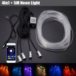 1IN4 5M Car Atmosphere Strip Light Fiber Optic Neon RGB APP Bluetooth Waterproof