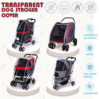 Transparent Dog Stroller Rain & Wind COVER for Foldable Pet Buggy Pushchair Pram