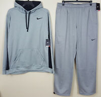 NIKE THERMA-FIT SWEATSUIT HOODIE + PANTS OUTFIT GREY BLACK NEW RARE (3XL / 2XL)