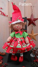 Primitive Raggedy Christmas Elf Girl Doll Folk Holiday Sewing Craft Pattern #75