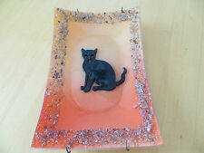 Glass Cat Dish /  Wall Art, Black Cat  with Halloween Colored Background unusual