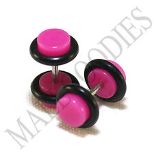 X102 Fake Cheater Illusion Faux Ear Plugs 16G Bar - 4G = 5mm Dark Hot Pink 2pcs