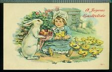 JOYOUS EASTERTIDE Sweet Girl in Bonnet Chicks White Rabbit Vintage Postcard