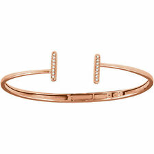 Diamond Vertical Bar Cuff Bracelet In 14K Rose Gold (1/6 ct. tw