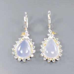 Jewelry Unique Design Chalcedony Earrings Silver 925 Sterling   /E51482