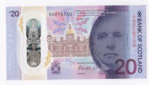 BANK OF SCOTLAND NEW POLYMER £20 UNCIRCULATED PREFIX [ AU 216750 ]  FREEPOST UK