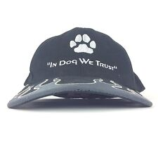 In Dog We Trust Embroidered Paw Print Black Baseball Cap Hat Flex Fit Mens Large