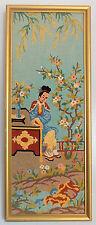Vintage Firmado Enmarcado Bordado Tapiz japonés/chino imagen, Pequeño Detalle