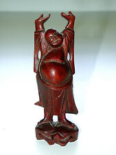 Beautiful Antique Hand Carved Chinese Signed EEL Wood Standing Buddha Carving
