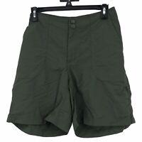 L.L.Bean Womens size 12 Dark Earth Green Nylon Trail Hiking Bermuda Shorts