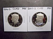 2016 S  2017  S CLAD PROOF KENNEDY HALF DOLLARS (2 Coins)