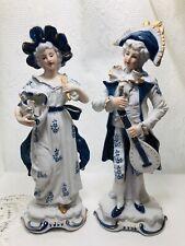 Vintage Brinton blue & white Porcelain Lady and a Gentleman musician, Made Japan