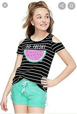 Girls Size 14/16 JUSTICE striped So Fresh Watermelon Cold Shoulder tee