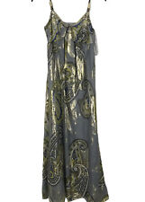 Monsoon Size 10 Full Length Metallic Silk Maxi Party Occasions Sleeveless Dress