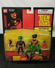 "RARE 2003 Bandai DC Teen Titans Go! 3.5"" Action Figure ~ Robin & Beast Boy New"