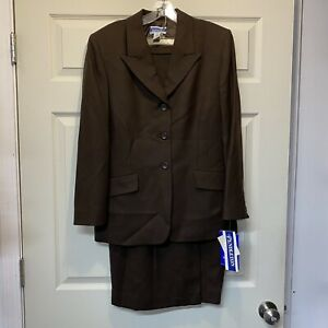 NEW Pendleton Suit Set Blazer Skirt 100% Virgin Wool Classic Brown Size 6 / 8