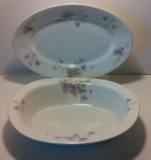 Vintage Royal Saxony China Serving Bowl/Platter Purple Morning Glory Flowers