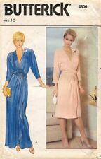 1980's VTG Butterick Misses' Wrap Dress & Cummerbund Pattern 4800 Size 18 UNCUT