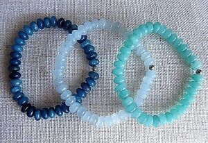 Blue Aquamarine Style Bead Bracelets With Stainless Steel Spacers.