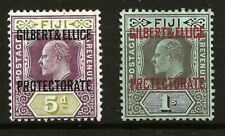 More details for gilbert & ellice  (y-o46) 1911 sg5 & 7 fiji o/print 5d & 1/- very fresh mm / mh