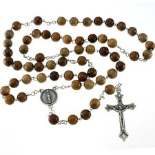 Wooden Rosary Beads with 9mm Beads on Stainless Steel Chain