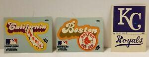 Lot of 3 Baseball Stickers: California Angels, Boston Red Sox, & KC Royals
