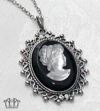 Gothic Antique Silver FROSTED CAMEO PENDANT NECKLACE Victorian Style Black D77