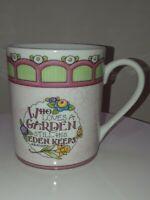 Mary Engelbreit Enesco Coffee Mug Cup WHO LOVES A GARDEN STILL HIS EDEN KEEPS