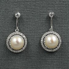 White Pearl Freshwater CZ 925 Sterling Silver Drop Dangle Earrings 08250 New