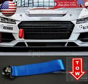 Blue Bumper Crash Beam Nylon Tow Hook Strap w/ Red Tow Arrow Sticker For BMW