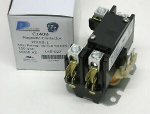 C140B Contactor Single One 1 Pole 40 Amps 120 Volts A/C Air Conditioner NEW