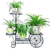 Decorative Metal Shelf Plant Stand Indoor Outdoor Balcony Flower Iron Rack