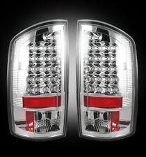 2007-09 Dodge Ram Rear Brake & Reverse White Clear Taillights w/ Brake LED Bulbs