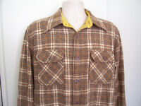 JC Penny Mens Vintage Virgin Wool Flannel Shirt Long Sleeve Plaid Sz L 16-16.5