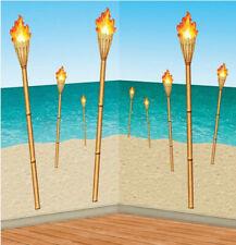 "TIKI TORCH PROPS Scene Setter beach party LUAU wall decor kit 9 pcs 15"" to 58"""